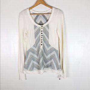 Free People Chevron Knit Henley Sweater Sz M
